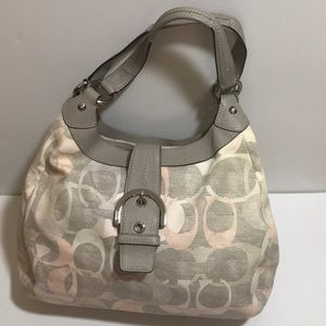 Coach Signature Linen Soho Optic Hobo F19214